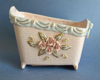 Vintage Mid Century Velco Japan Musical Lullaby Baby Bassinet Cradle Planter Vase