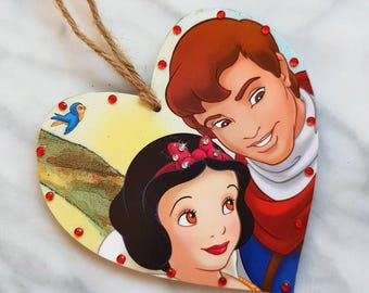 Snow White and Prince Charming Heart Hanging Plaque | Handcrafted Gift |