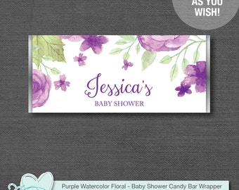 Purple Watercolor Floral Candy Bar Wrapper Personalized, Baby Shower Game Printable, Customized, Flowers, Girl, Hersheys Wrapper, 008A