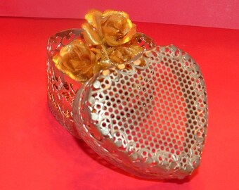 Ornate Silver Plated Mesh Heart Shaped Trinket Box with Gold fabric Rose Cluster