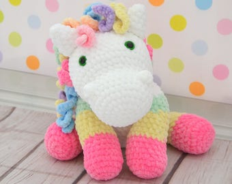 Lovley crochet pony with personalized dedication- amigurmumi, first birthday, babyshower, handmadetoy , stuffed pony.
