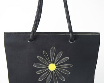 Small canvas tote bag - Black canvas w/ black leather flower and yellow stitching