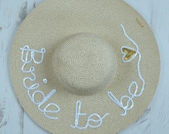 Serafina 'Bride To Be' White Wide Brim Floppy Sun Hat