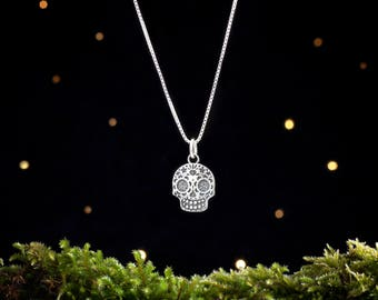 Sterling Silver Sugar Skull - Small, Double Sided - (Charm Only or Necklace)
