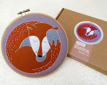 Fox Embroidery Kit, Foxes Hoop Art Kit, Needlework Kit, Craft Set For Adults, Learn To Embroider, Hygge Craft Kit, Beginners Embroidery
