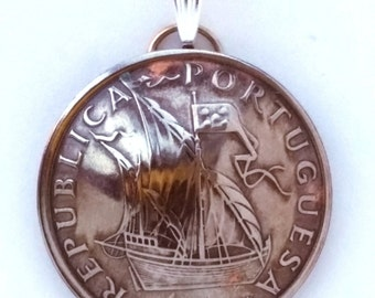 Antique Sailing Ship Coin Pendant from Portugal Tall Ship Upcycled Boho /Bohemian World Travel Jewelry With Meaning/Wanderlust Jewelry