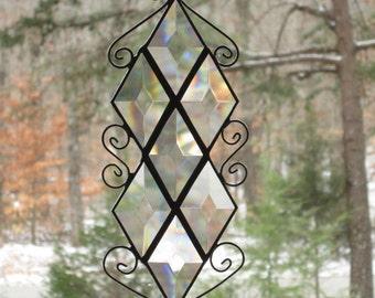 Beveled Glass Suncatcher - Diamond Bevels with Wire Curls