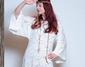 Dress, Boho Dress, Summer Dress, Kimono Dress, Ivory Lace Dress, Hippie Dress, Festival Dress, Jersey Dress, Oversized Dress, Midi Dress