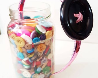 BIG BUTTON Head Band (Black and Pink)