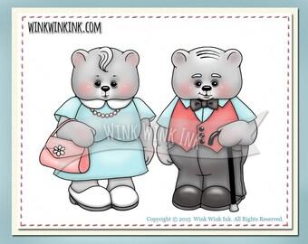 Digital stamp - Grandma and Grandpa Bear- grandparents printable digi image