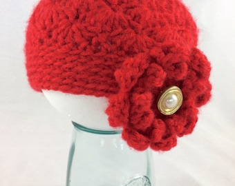 Baby Christmas hat, Red baby hat, Baby winter hat, crochet baby hat, girls knit hat, baby girl crochet hat, baby flower hat, baby photo prop