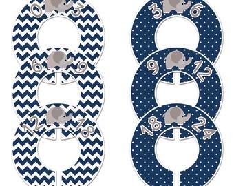 6 baby closet dividers (No.189) elephant navy chevron polka dot boy clothes divider boy nursery organizer Closet Doodles®