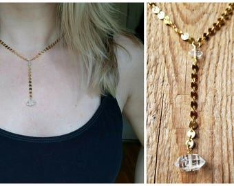 Herkimer diamond Y necklace on brass disc chain