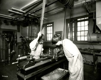 """1918 Students in Woodshop, MA Normal Art Vintage Photograph 8.5"""" x 11"""" Reprint"""