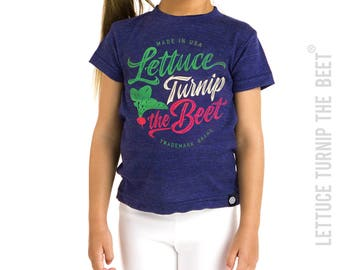 SALE Lettuce turnip the beet ® trademark brand OFFICIAL SITE - dark blue heather kid tshirt with cursive logo - farming, food, music, funny