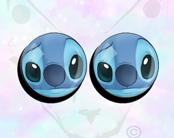 "Big Size Pair Stitch Disney Super Cute Face on Ear Plugs up to 50mm (2"")"
