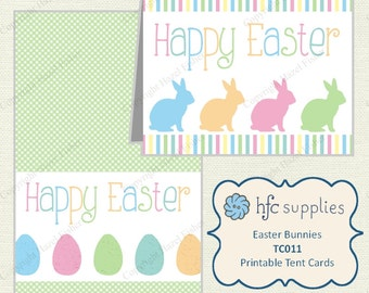 Easter Printable Cards - pastel eggs and bunnies, Happy Easter card - TC011