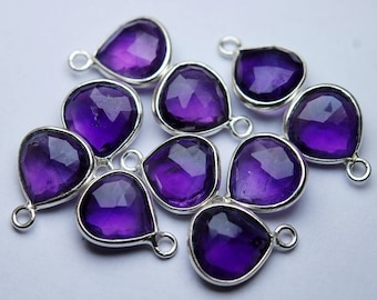 925 Sterling Silver,Natural Purple Amethyst Faceted Heart Shape Connector,2 Piece of 14mm