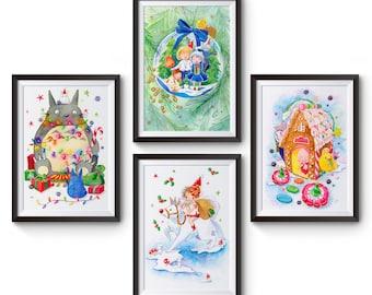 Set Of 4 Studio Ghibli Christmas Watercolor Prints Totoro, Mononoke, Howl's Moving Castle, and Spirited Away