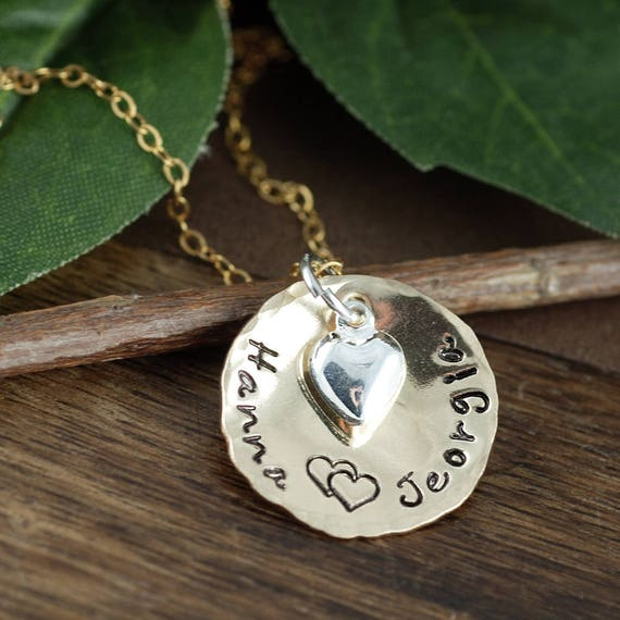 Hand Stamped Mother's Necklace, Personalized Mother's Jewelry, GIft for Mom, Kids Name Necklace, Christmas Gift for Mom,Gift for Girlfriend