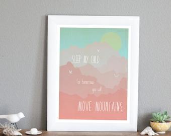 25% OFF Move Mountains in Pink - Childrens Wall Art 11x14 Print, Nursery Decor, Children's Decor, Girls Decor, Inspirational