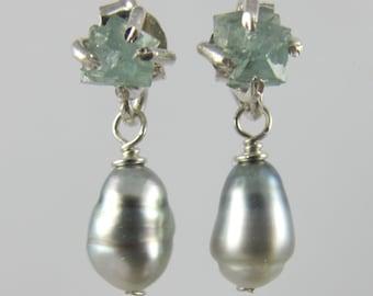 RARE German boracite raw rough crystal and Tahitian keshi pearl sterling earrings