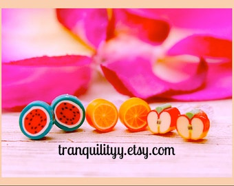 Fruit Slices Earrings  , Tiny Fruit Cane Earrings Set, 3 Pairs Earrings, Kids, Infants, Toddlers, Teens, Girls,  By: Von'Dez Redman