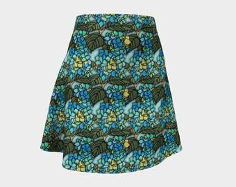 Flared Skirt - Blue Hydrangea