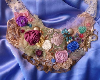 Necklace assemblage, wearable art, handmade, vintage and antique laces, rhinestones, beads, handddd sculpted roses, boho, gypsy, whimsical