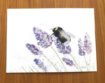 Bumble bee watercolour, original watercolour painting, bumble bee art, lavender watercolour, original painting, bumble bee artwork, 10 x 7