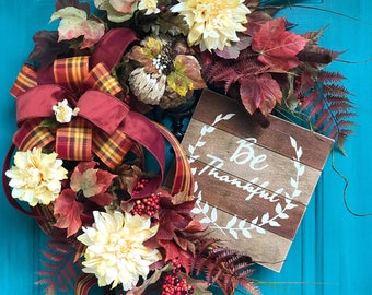 best autumn wreath, fall decor, best fall wreath, thanksgiving Wreath, large fall wreath, elegant fall decor, outdoor wreath, fall floral