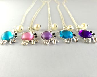 Crab with Pearl Pendant, Glass Stone Crab, Nautical Necklace, Sea Creature Jewellery, Cancer, Turquoise, Blue, Lilac, Purple, Pink