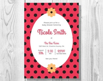 Ladybug Baby Shower Invitation - Printable