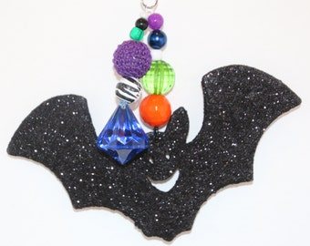 Halloween Black Glittered Bat Tablecloth Weights Set of 4