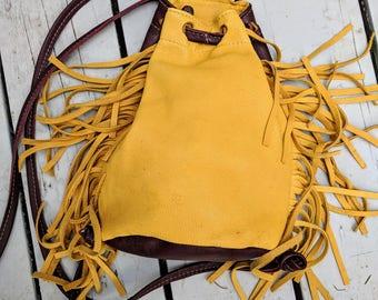 Rustle Fringe - Small Bohemian Backpack in Yellow Deerskin and Burgundy Leather base