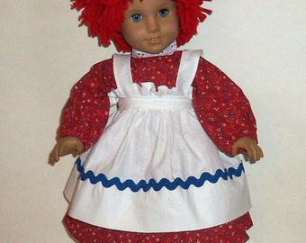 Raggedy Ann Costume, 18 Inch Doll , Red Doll Wig, Black Shoes, American Made, Girl Doll Clothes