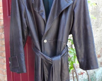 REDUCED - Claude Montana brown textured leather trench coat - UNEQUALLED style and quality