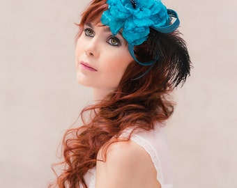 Bridal headpiece camellia Vivian silk flower teal black gothic lolita