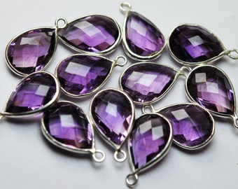 925 Sterling Silver,Natural PINK AMETHYST Faceted Pear Shape Pendant,2 Piece of 18mm