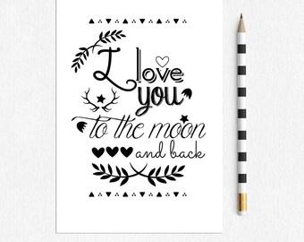 Love Postcard I love you to the Moon and Back - Single Postcard - love design postcard