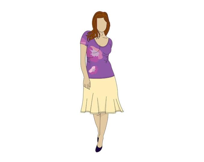 Scoop Neck Easy T-shirt Sewing Pattern- Sizes 8-22 UK - Download PDF