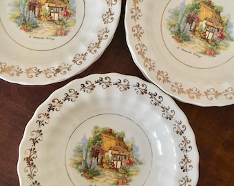 6 x english made royal victoria wade pottery dessert bowls with gold trim