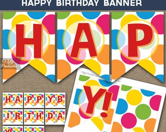 Colorful Birthday Banner - Printable Happy Birthday Banner - Art Birthday Banner - Birthday Party Decorations - Kids Birthday Decor SMR