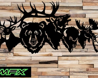 Animal collage Deer Bear metal wall art & Metal deer | Etsy