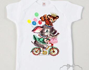 Kids Circus Shirt - Circus Birthday Shirt - Elephant Bicycle Tee - Primary Big Top Circus - Circus Party Shirt - Toddler Retro Baby Big Top