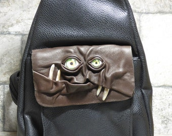 Leather Backpack Woman Purse With Face Monster Harry Potter Labyrinth Brown Black 427