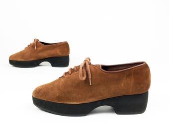 Vintage YVES SAINT LAURENT Platform Oxfords Brown Suede 7 90's Brogues