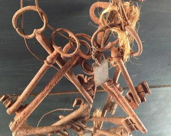 Cabinet de curiosite, Mothers day gift, antique skeleton key, skeleton key, large key, antiques,, vintage, bridal shower favors, steampunk,