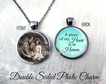 Wedding Bouquet Photo Charm - Piece of my Heart is in Heaven Double Sided Personalized Photo Necklace - Memorial Necklace In Memory Jewelry