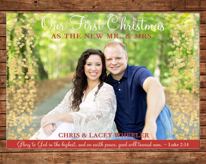 Photo Picture Christmas Holiday Card Glitter Gold Confetti First Mr. Mrs. Married Wedding - Digital File
